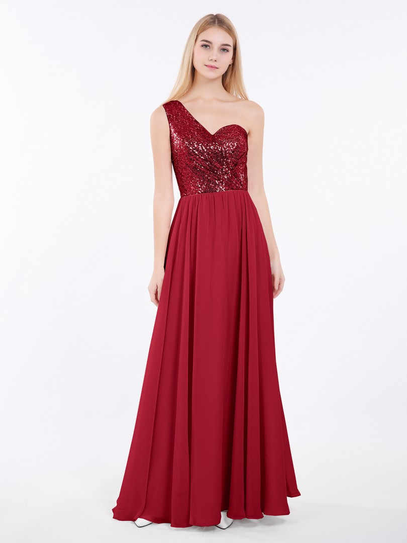 A-line Sequin Rose Gold Criss-Cross Straps Ruched Floor-length One Shoulder Sleeveless Beautiful Bridesmaid Bresses