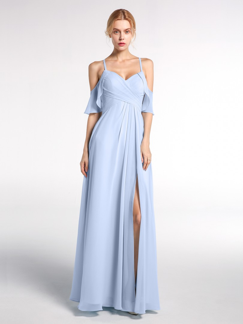 Empire Chiffon Sky Blue Zipper  Floor-length Sweetheart Spaghetti Straps New Arrivals
