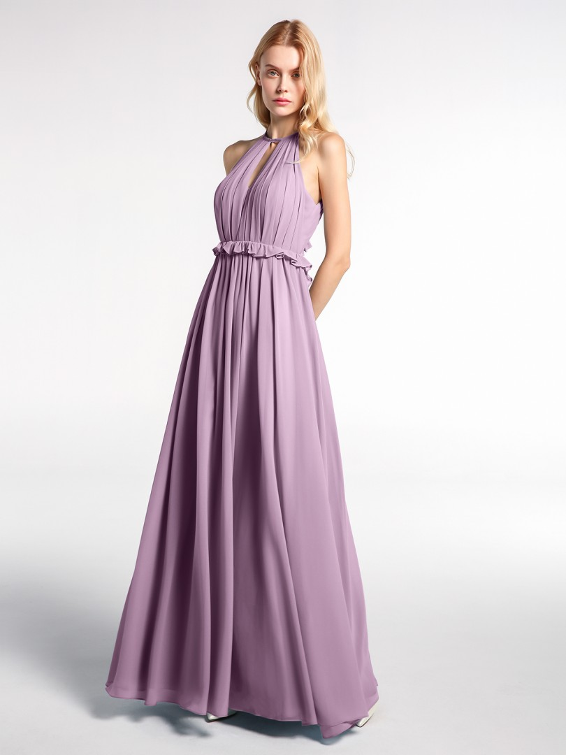 A-line Chiffon Wisteria Backless  Floor-length Halter Sleeveless New Arrivals