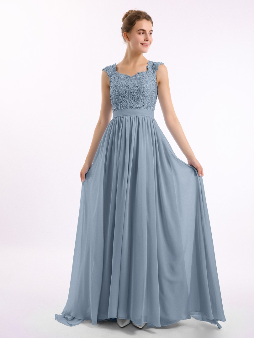A-line Chiffon Dusty Blue Zipper Side Appliqued, Beaded, Ruched Floor-length Scoop Sleeveless Long Bridesmaid Dresses