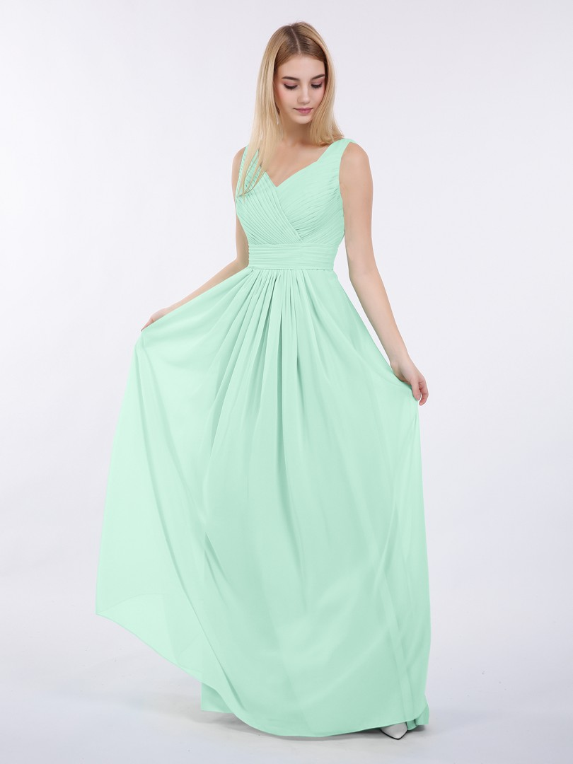 A-line Chiffon Mint Green Zipper Ruched, Pleated Floor-length V-neck Sleeveless Cheap Bridesmaid Dresses UK