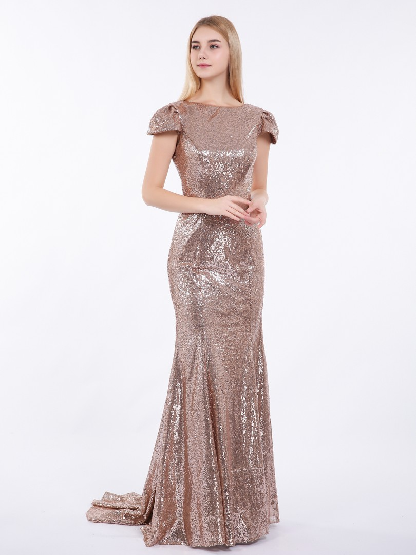 Trumpet/Mermaid Sequin Metallic Gold Zipper Sequins Sweep/Brush Train Bateau Cap Sleeve Vintage Bridesmaid Dresses