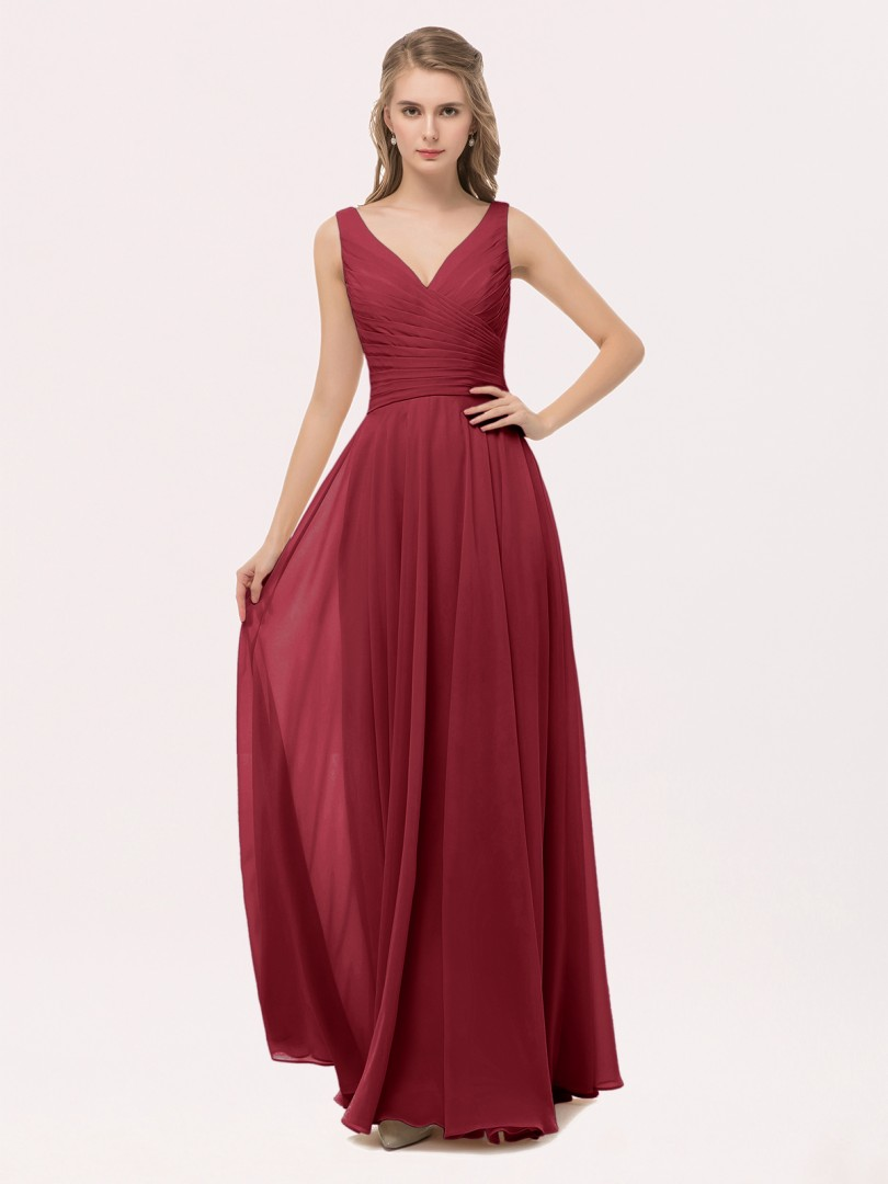 A-line Chiffon Peach Zipper Bow, Sash, Pleated Floor-length V-neck Straps Beautiful Bridesmaid Bresses