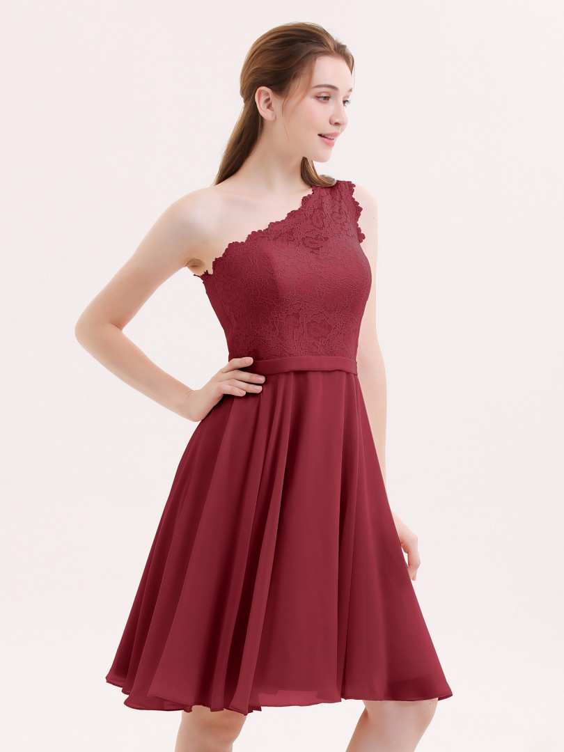 A-line Chiffon Burgundy Zipper Lace Knee-length One Shoulder Sleeveless Beach Wedding Bridesmaid Dresses
