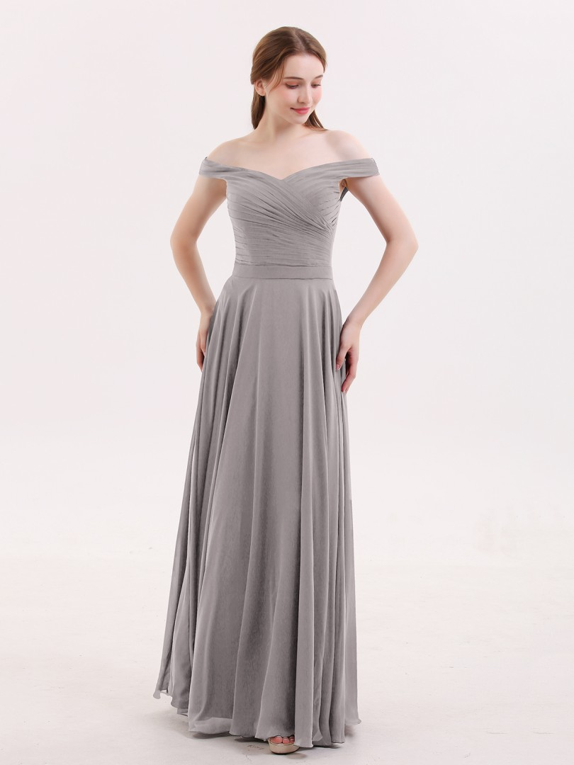 A-line Chiffon Grape Zipper Ruched, Pleated Floor-length Off-the-shoulder Sleeveless Affordable Bridesmaid Dresses