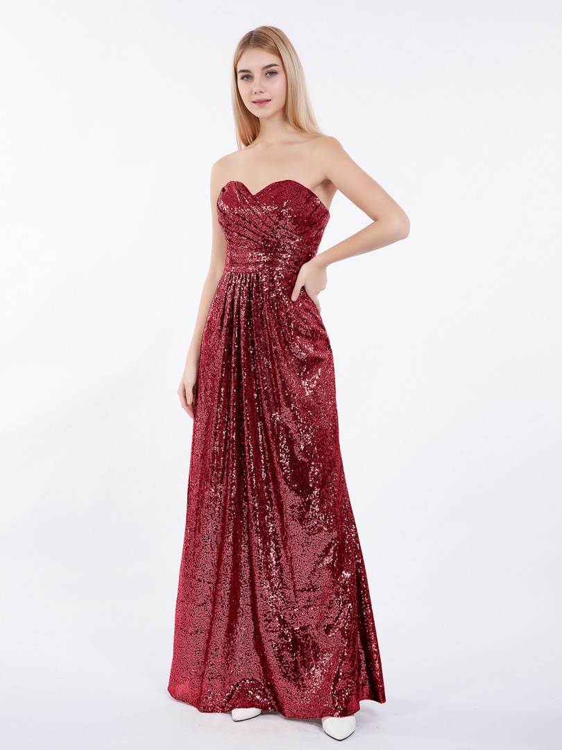 A-line Sequin Metallic Gold Zipper Pleated Floor-length Sweetheart Sleeveless Affordable Bridesmaid Dresses