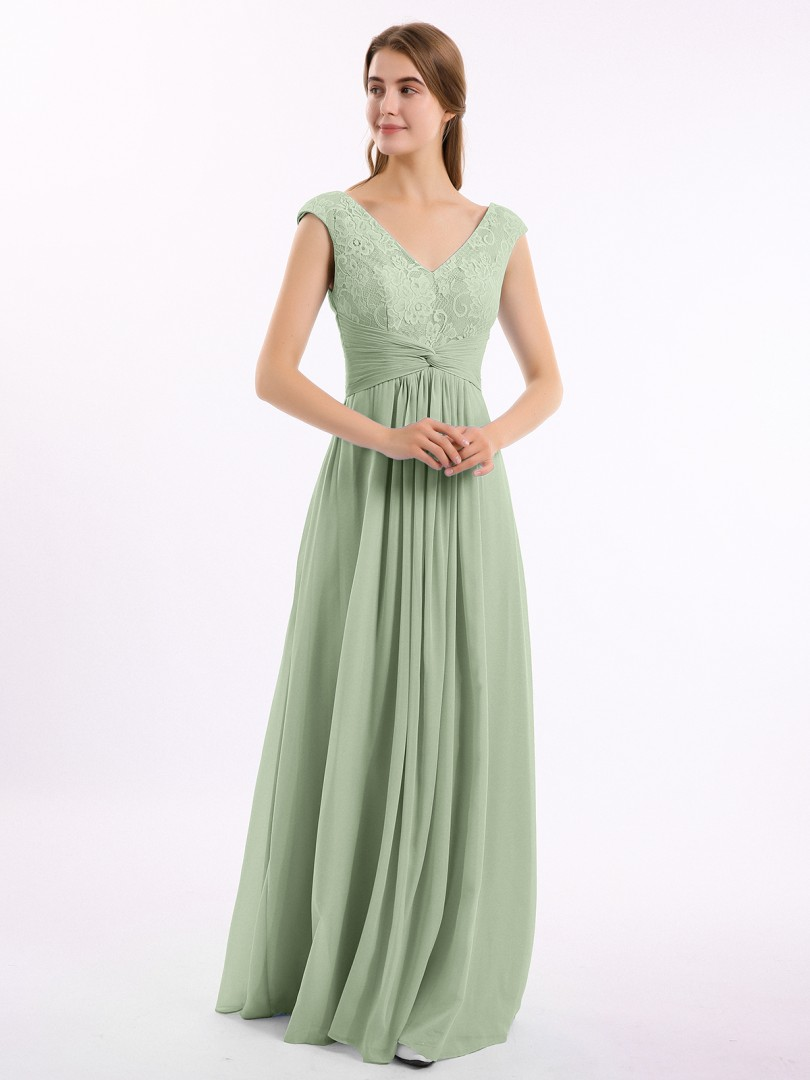 A-line Chiffon Dusty Sage Zipper Lace, Ruched, Pleated Floor-length V-neck Cap Sleeve Bridesmaid Dresses Under 100