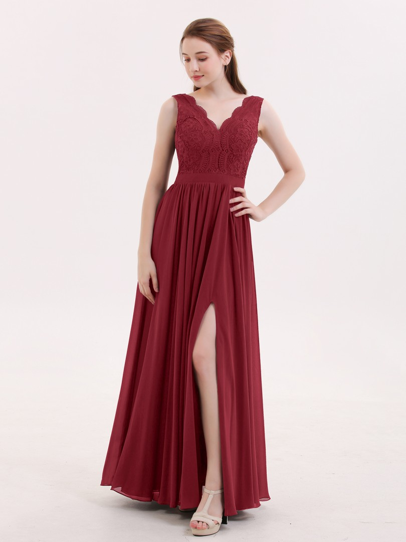 A-line Chiffon Burgundy Backless Lace, Ruched Floor-length V-neck Sleeveless Vintage Bridesmaid Dresses