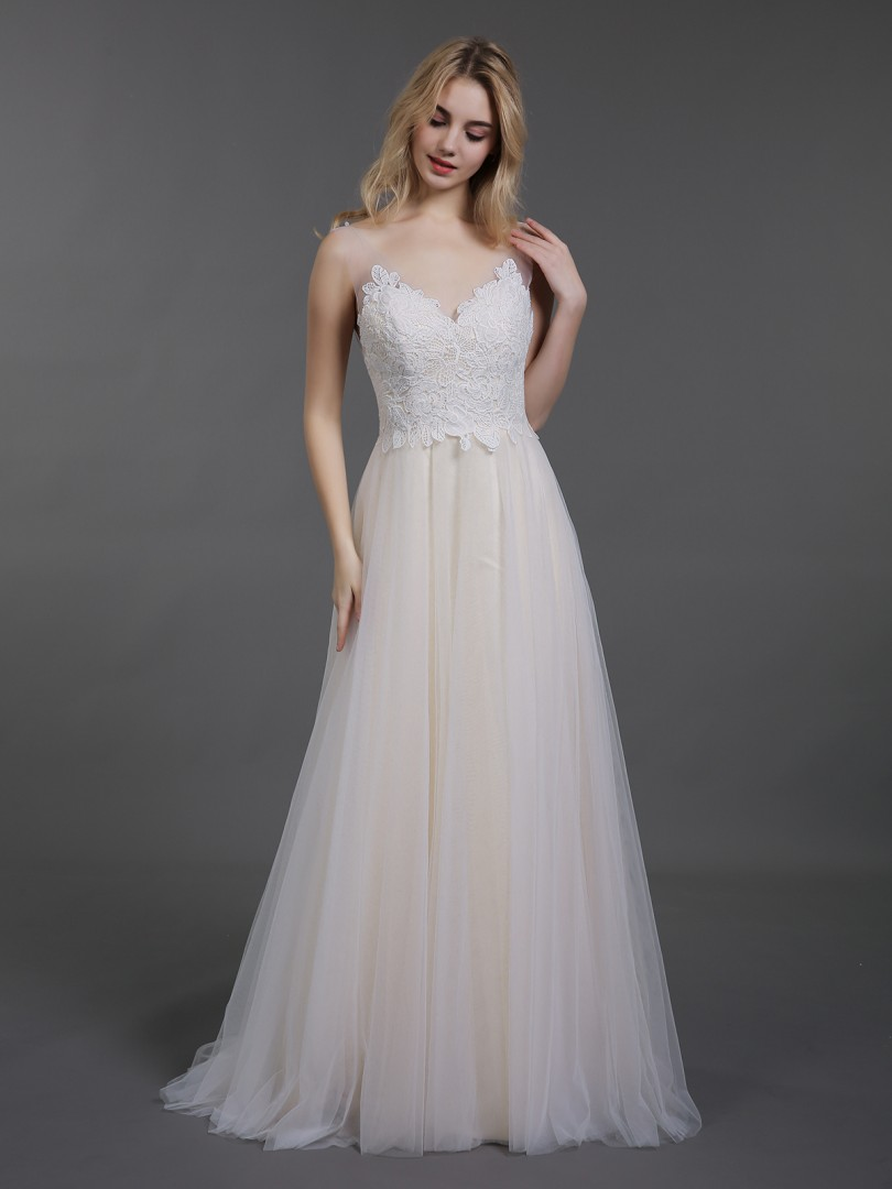A-line Tulle Champagne Backless Appliqued Sweep/Brush Train V-neck Sleeveless Wedding Dresses 2019