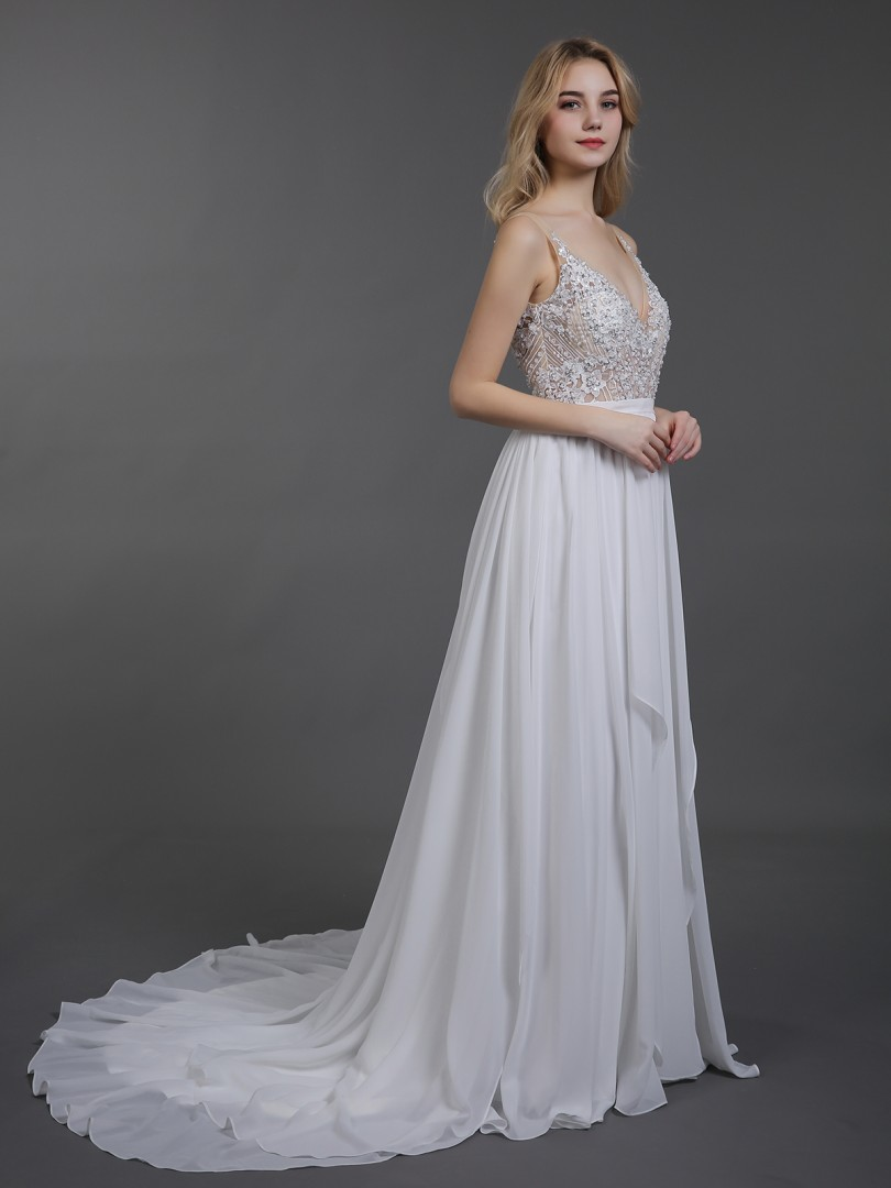 A-line Chiffon Ivory Backless Appliqued, Beaded, Pleated Sweep/Brush Train V-neck Sleeveless Wedding Dresses 2019