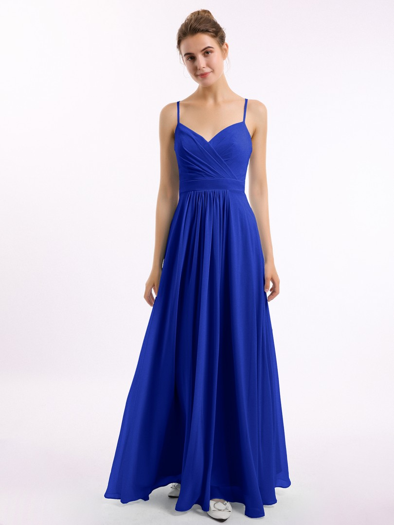 A-line Chiffon Royal Blue Zipper Ruched, Pleated Floor-length V-neck Spaghetti Straps Bridesmaid Dresses Under 100