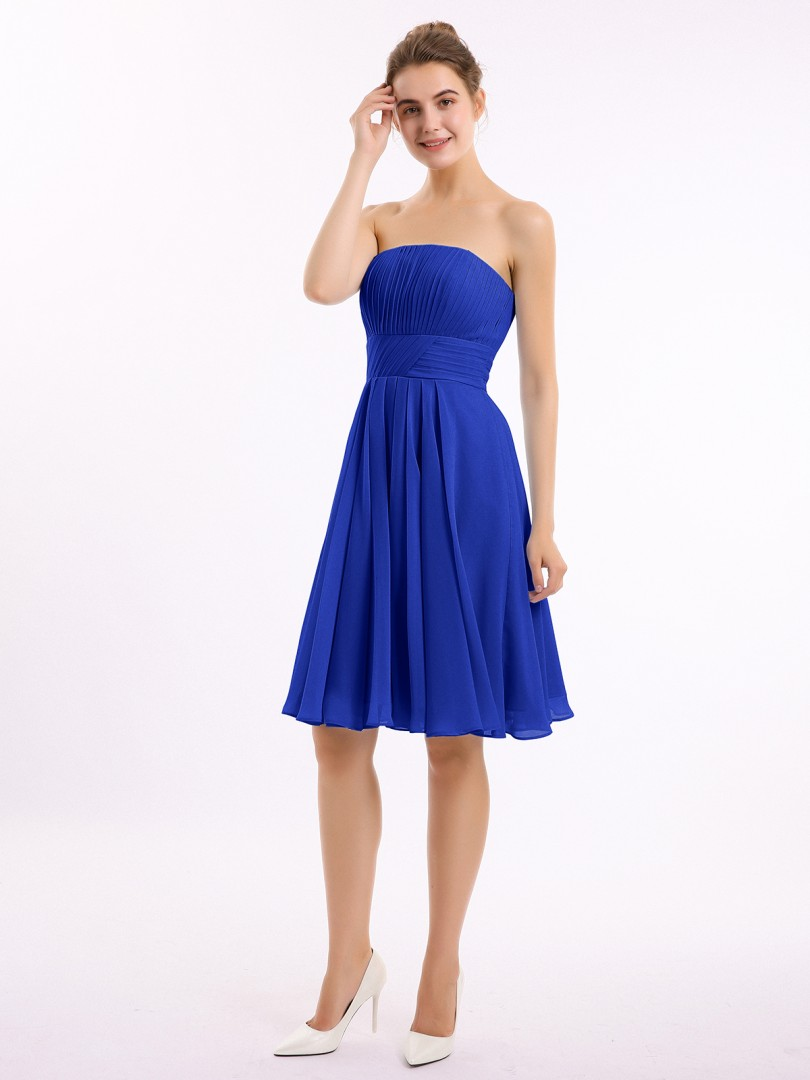 A-line Chiffon Royal Blue Zipper Ruched, Pleated Knee-length Strapless Sleeveless Short Bridesmaid Dresses