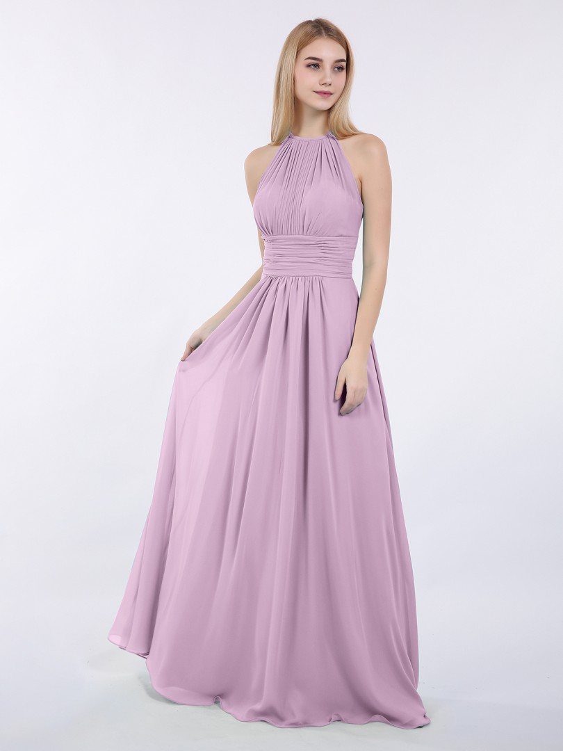 A-line Chiffon Wisteria Zipper Ruched, Pleated Floor-length Halter Sleeveless Beautiful Bridesmaid Bresses