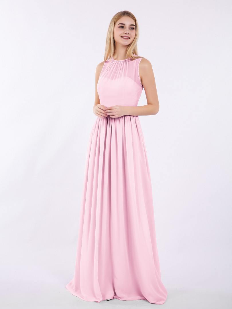 A-line Chiffon Candy Pink Zipper Ruched Floor-length Halter Sleeveless Unique Bridesmaid Dresses