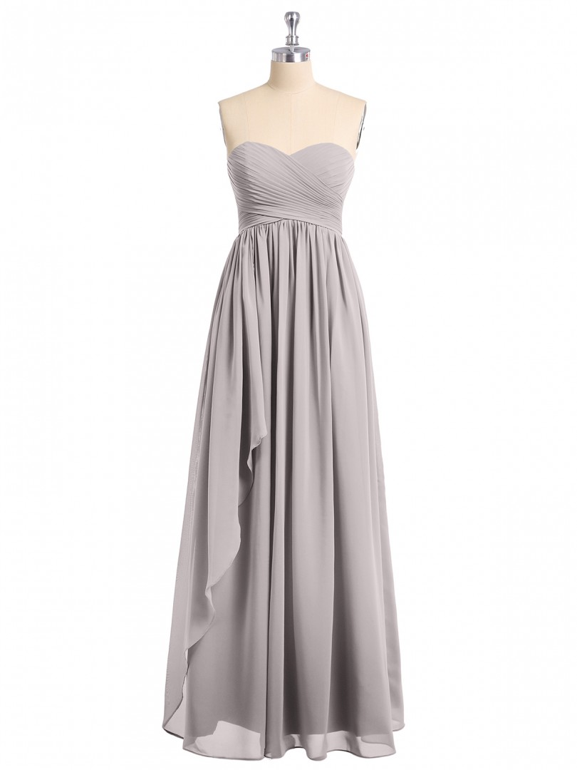 Empire Chiffon Watermelon Zipper Ruched, Pleated Floor-length Sweetheart Sleeveless Long Bridesmaid Dresses