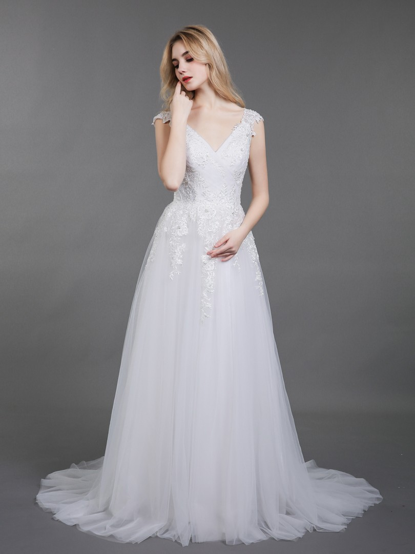 A-line Tulle Ivory Backless Appliqued, Beaded, Pleated Sweep/Brush Train V-neck Short Wedding Dresses 2019