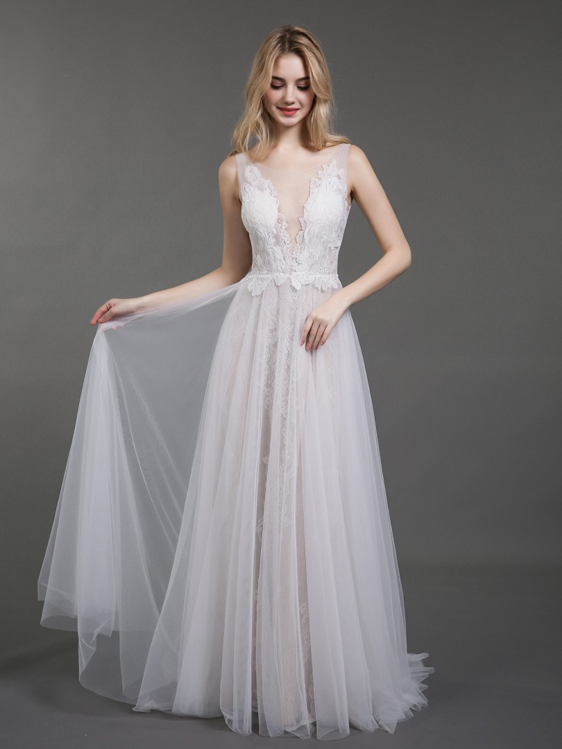 A-line Tulle Ivory Zipper Lace Sweep/Brush Train Scoop Sleeveless Wedding Dresses 2019