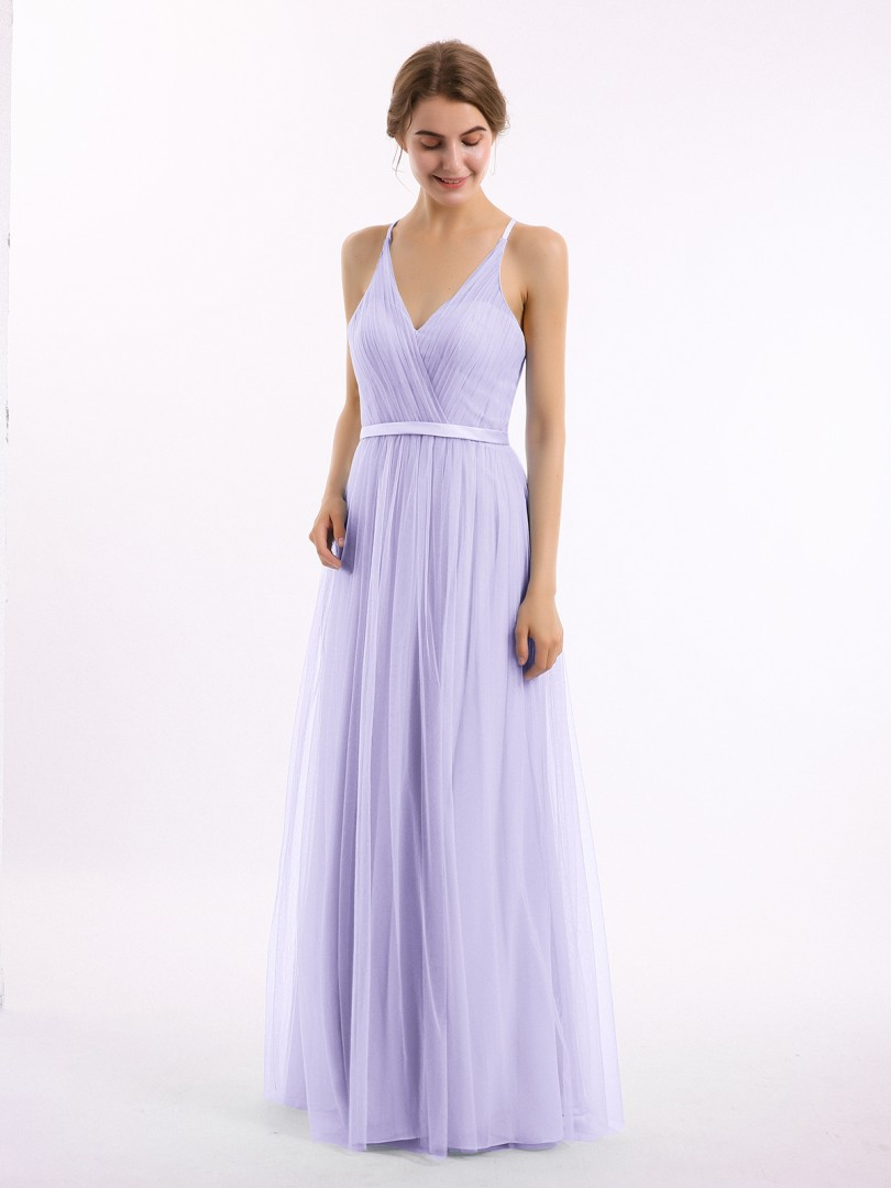 A-line Tulle Lilac Backless Ruffle, Lace Floor-length V-neck Sleeveless Bridesmaid Dresses Under 100