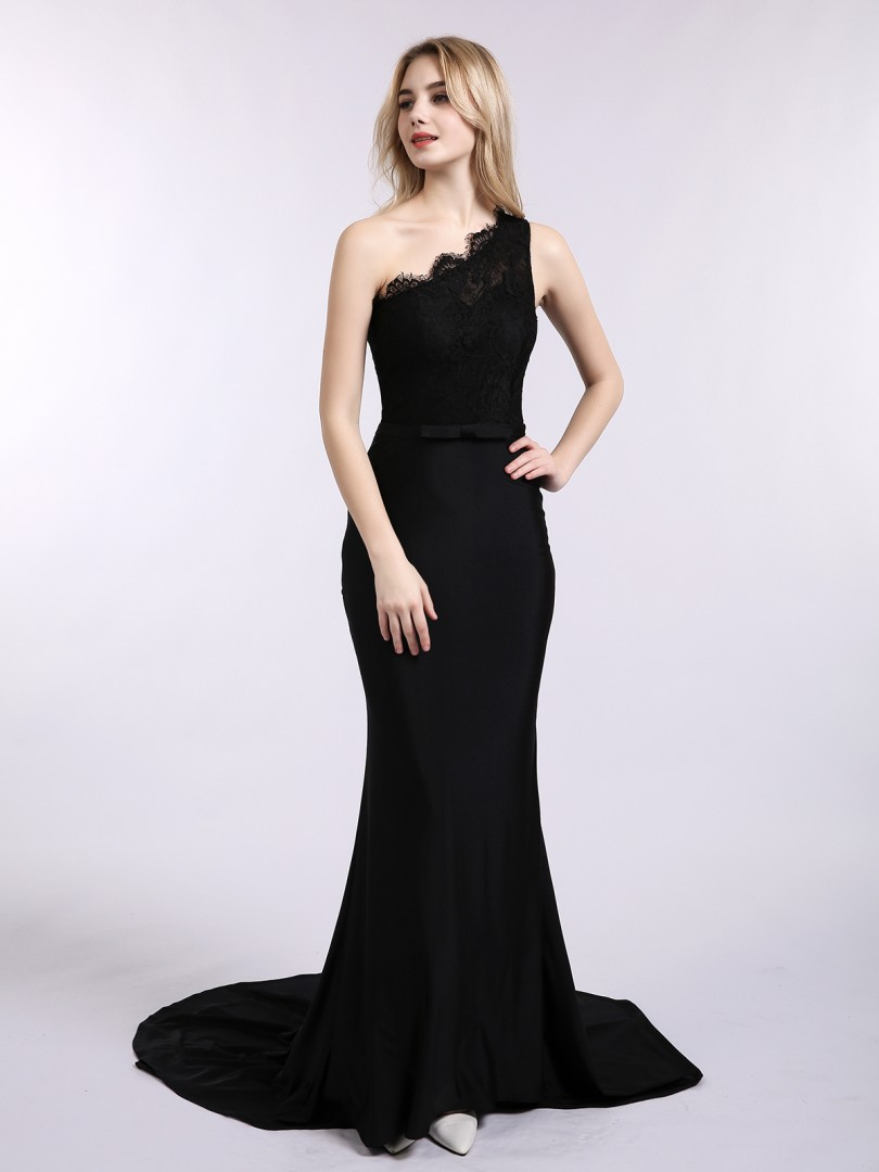 Trumpet/Mermaid Jersey Black Zipper Side Bow, Sash Sweep/Brush Train One Shoulder Sleeveless Evening Dresses