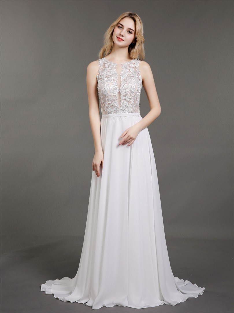 A-line Chiffon Ivory Zipper Appliqued, Beaded Sweep/Brush Train Scoop Sleeveless Wedding Dresses 2019