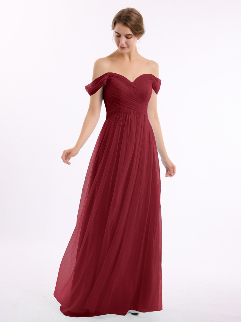 A-line Tulle Burgundy Zipper Ruched, Pleated Floor-length Off-the-shoulder Short New Arrivals