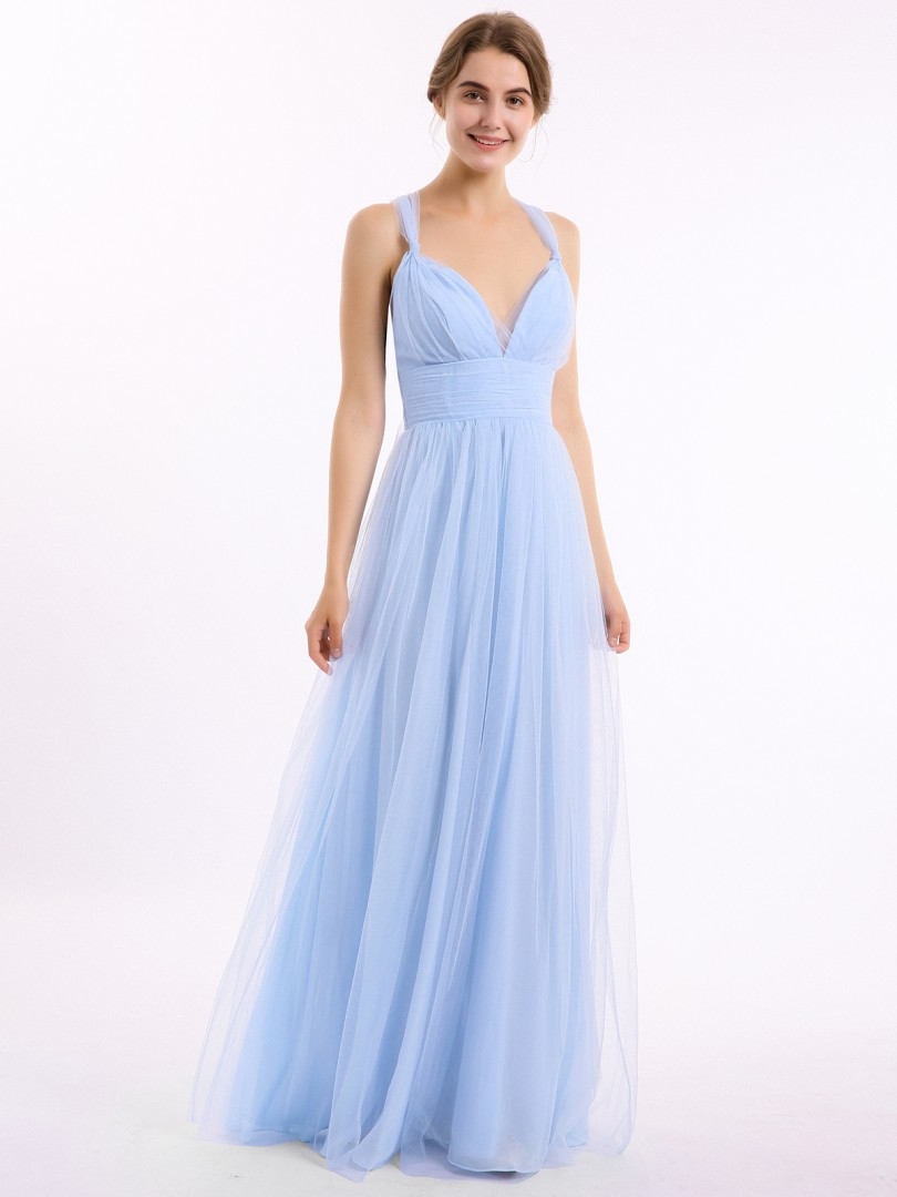 A-line Tulle Sky Blue Criss-Cross Straps Bow, Ruched Floor-length V-neck Straps Bridesmaid Dresses Under £50