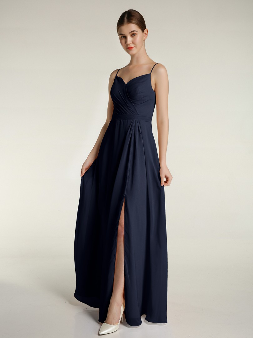 A-line Chiffon Dark Navy Zipper Ruched, Pleated Floor-length Sweetheart Spaghetti Straps Long Bridesmaid Dresses