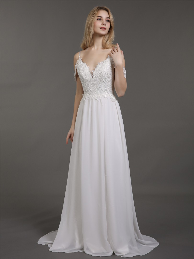 A-line Chiffon Ivory Criss-Cross Straps Appliqued Sweep/Brush Train Off-the-shoulder Spaghetti Straps Wedding Dresses 2019