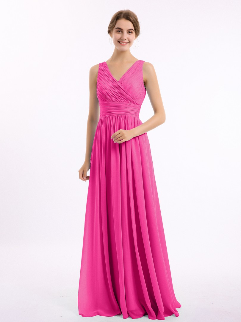 A-line Chiffon Fuchsia Zipper Ruched, Pleated Floor-length V-neck Sleeveless Bridesmaid Dresses Under 100