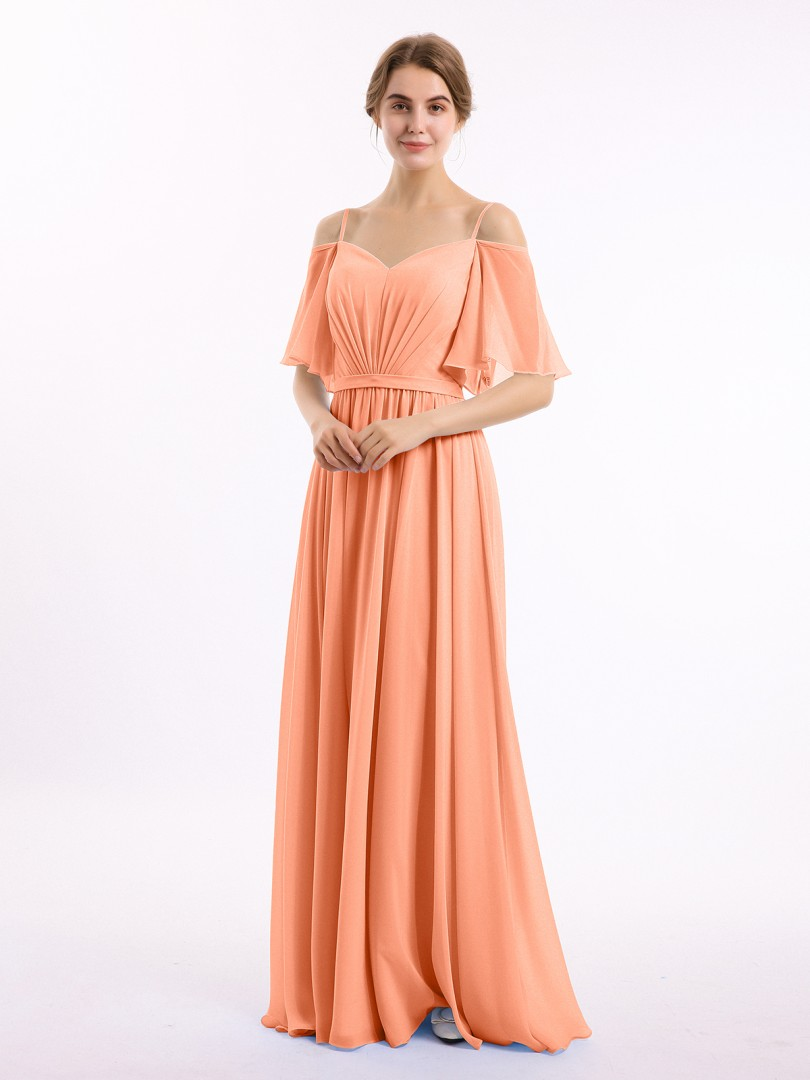 A-line Chiffon Papaya Zipper Belt, Ruched Floor-length Off-the-shoulder Spaghetti Straps Bridesmaid Dresses Under 100