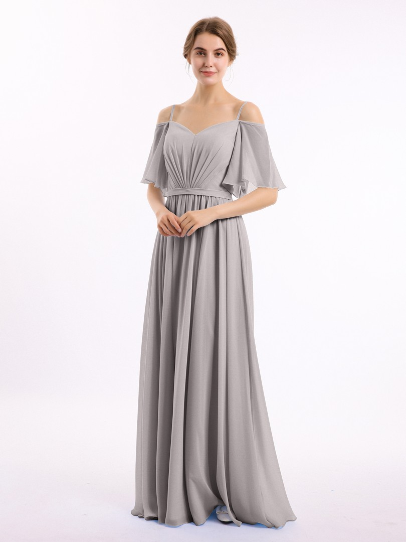 A-line Chiffon Papaya Zipper Belt, Ruched Floor-length Off-the-shoulder Spaghetti Straps New Arrivals