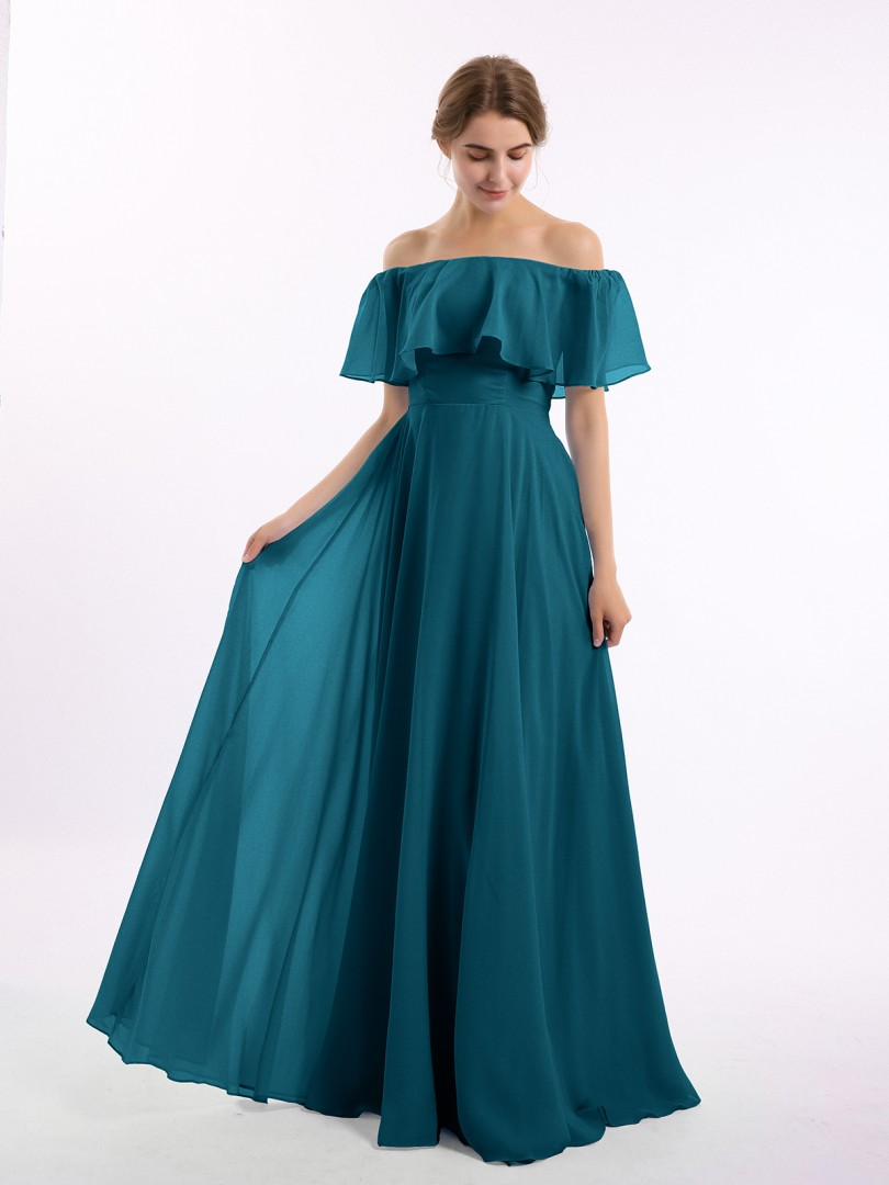 A-line Chiffon Ink Blue Zipper Side Pleated Floor-length Off-the-shoulder Short Bridesmaid Dresses Under 100