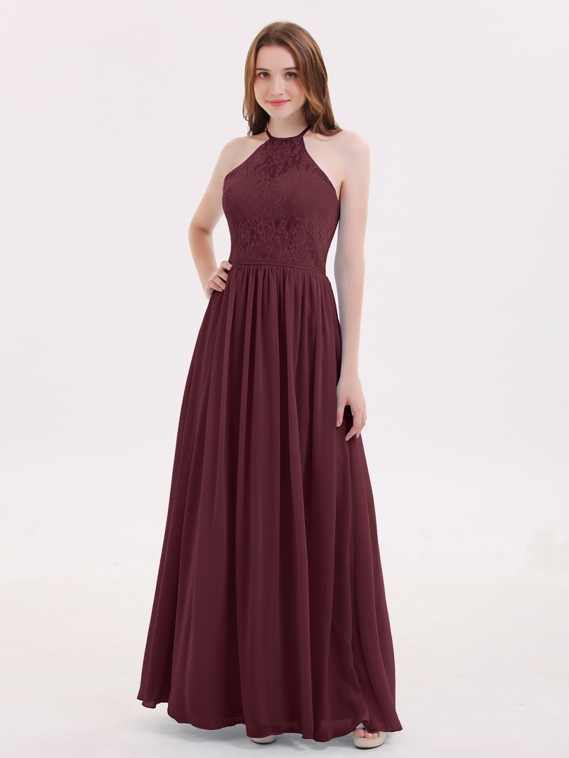 A-line Chiffon Cabernet Zipper Lace, Ruched Floor-length Halter Sleeveless Beautiful Bridesmaid Bresses