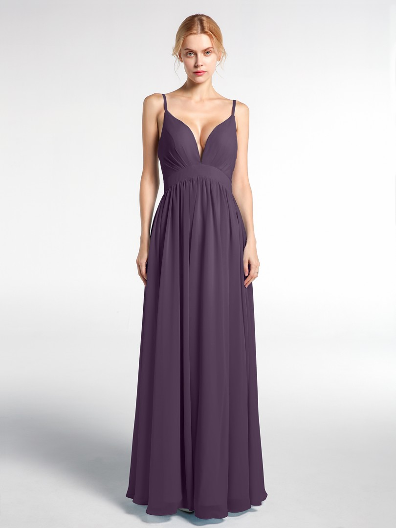Empire Chiffon Plum Zipper Pleated Floor-length V-neck Spaghetti Straps New Arrivals