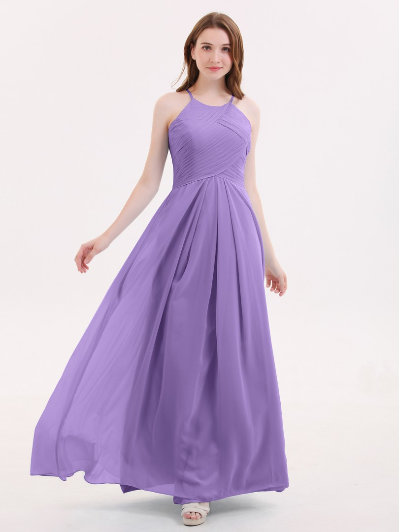 A-line Chiffon Tahiti Zipper Pleated Floor-length Halter Sleeveless Affordable Bridesmaid Dresses