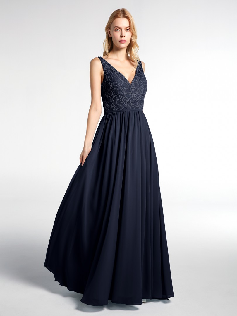 A-line No Dark Navy Zipper Ruched Floor-length V-neck Sleeveless New Arrivals