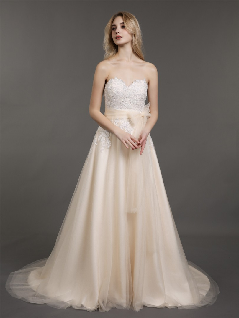 A-line Tulle Champagne Zipper Appliqued, Beaded, Bow Sweep/Brush Train Sweetheart Sleeveless Wedding Dresses 2019
