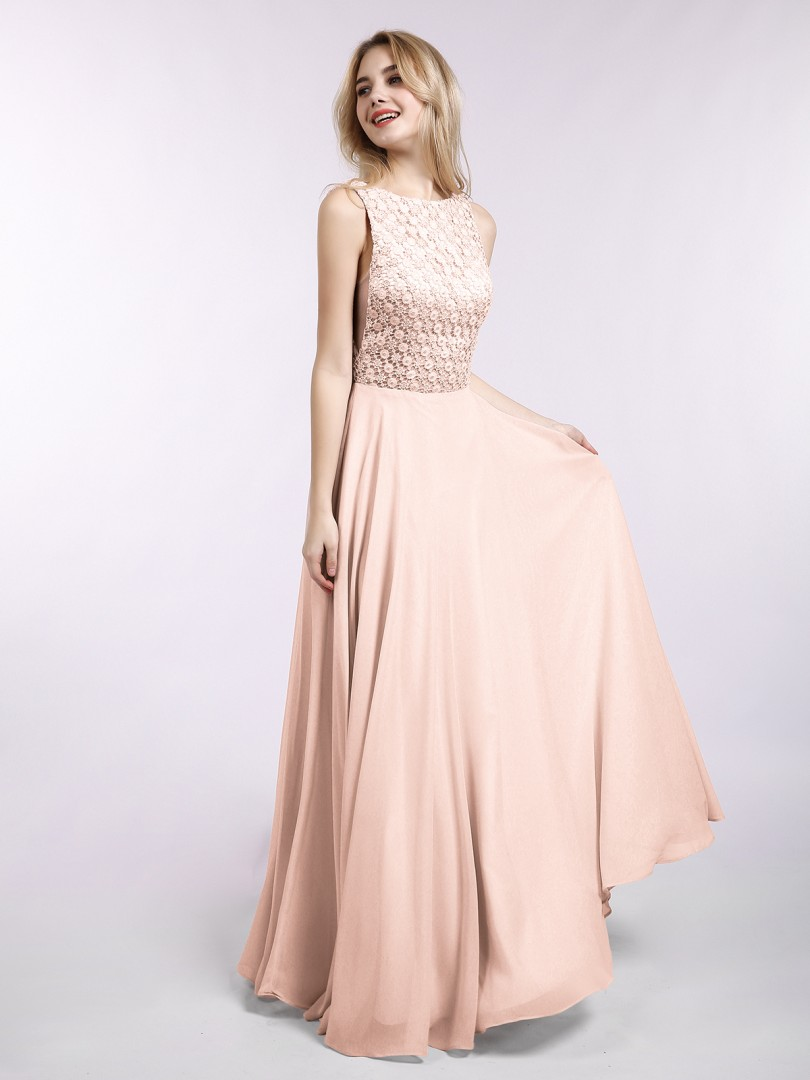 A-line Chiffon Pearl Pink Backless Lace Floor-length Bateau Sleeveless Evening Dresses
