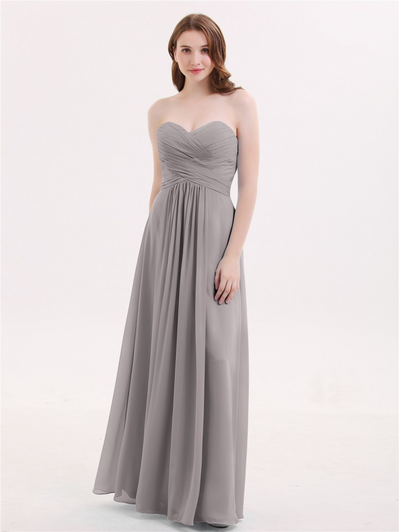 A-line Chiffon Ink Blue Zipper Ruched, Pleated Floor-length Sweetheart Sleeveless Beautiful Bridesmaid Bresses
