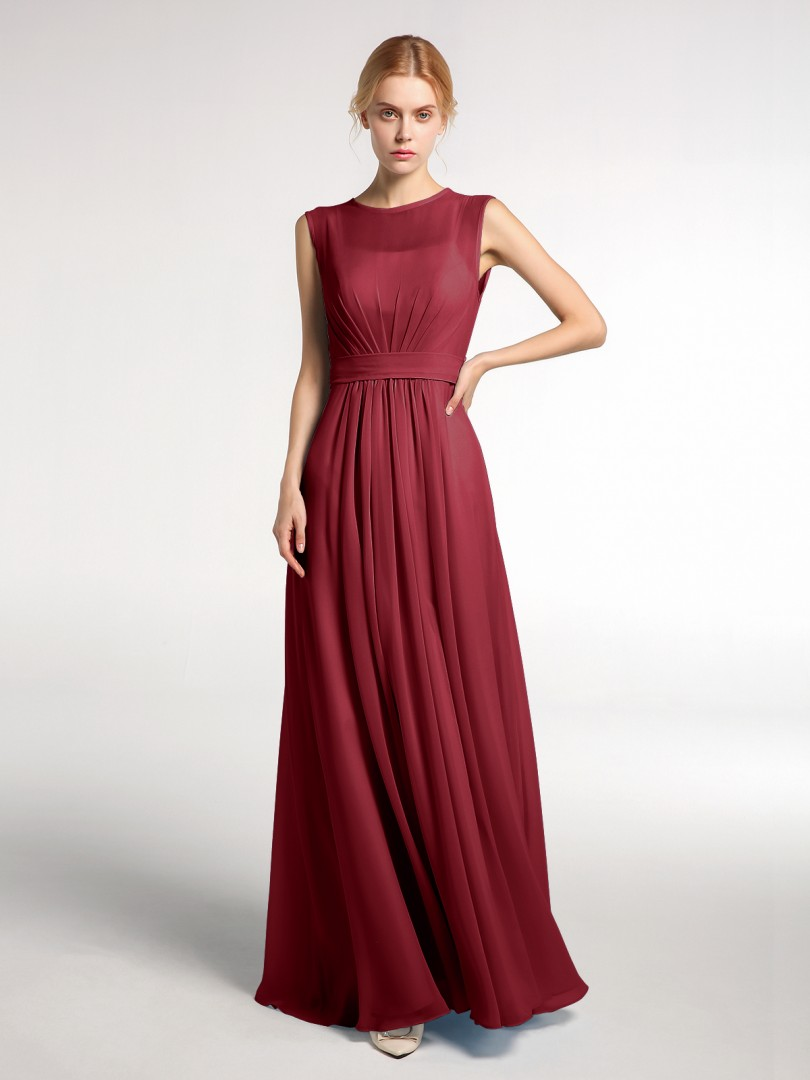 A-line Chiffon Dark Navy Zipper Bow, Ruched Floor-length Bateau Sleeveless Vintage Bridesmaid Dresses