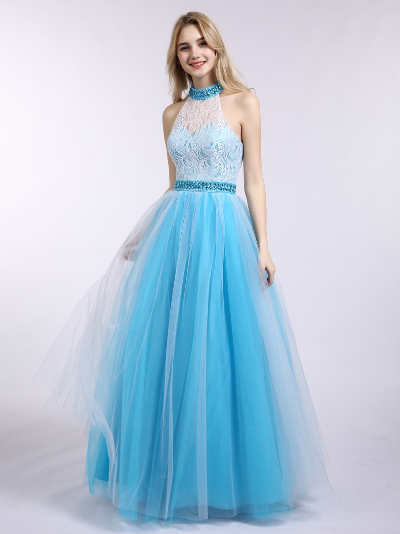 A-line Tulle Pool Backless  Floor-length Halter Sleeveless Evening Dresses