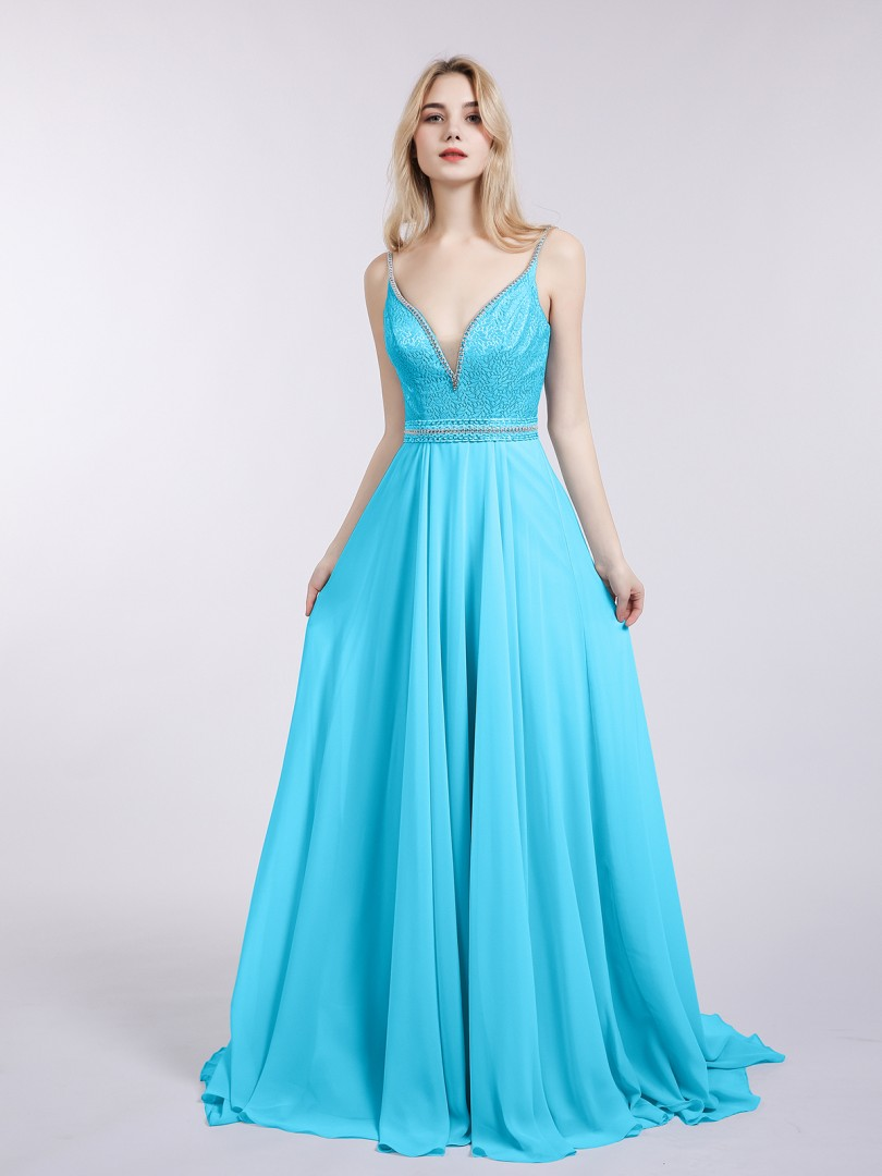 A-line Chiffon Pool Backless Beaded Sweep/Brush Train V-neck Straps Evening Dresses