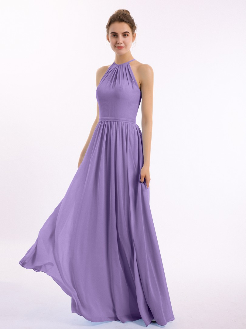 A-line Chiffon Peacock Backless Belt, Ruched Floor-length Halter Sleeveless Bridesmaid Dresses Under 100