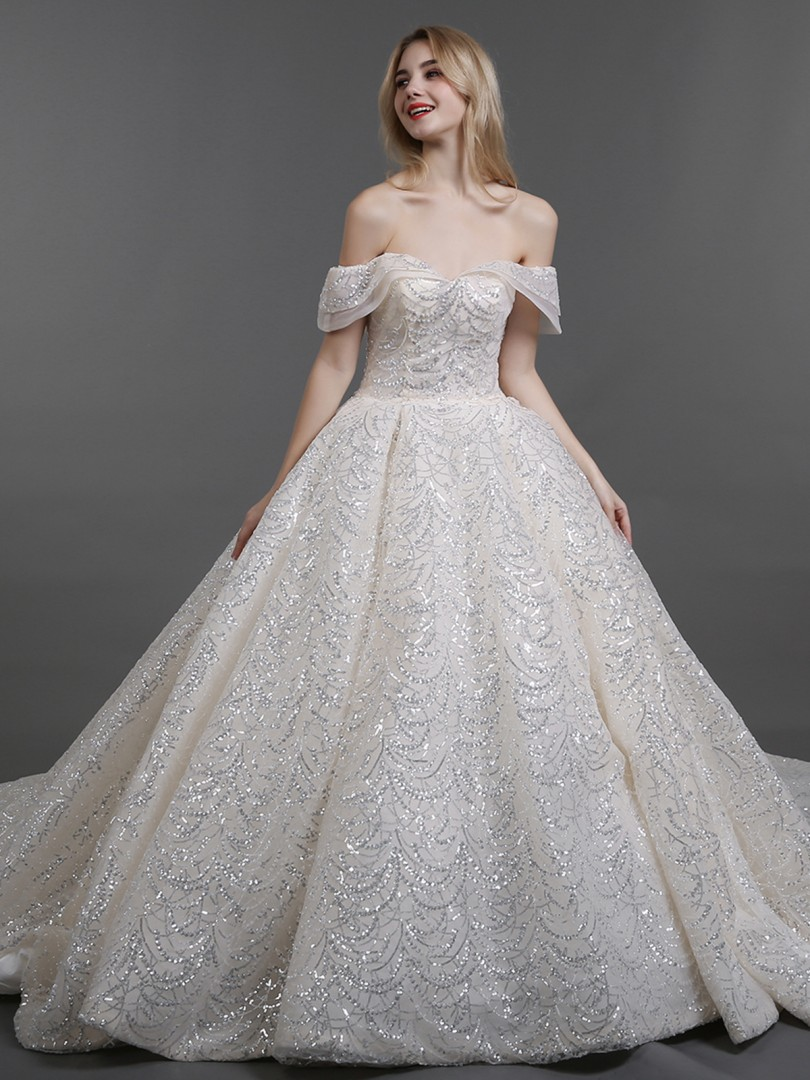 Ball Gown Tulle Champagne Lace-up Beaded Chapel train Off-the-shoulder Sleeveless Wedding Dresses 2019