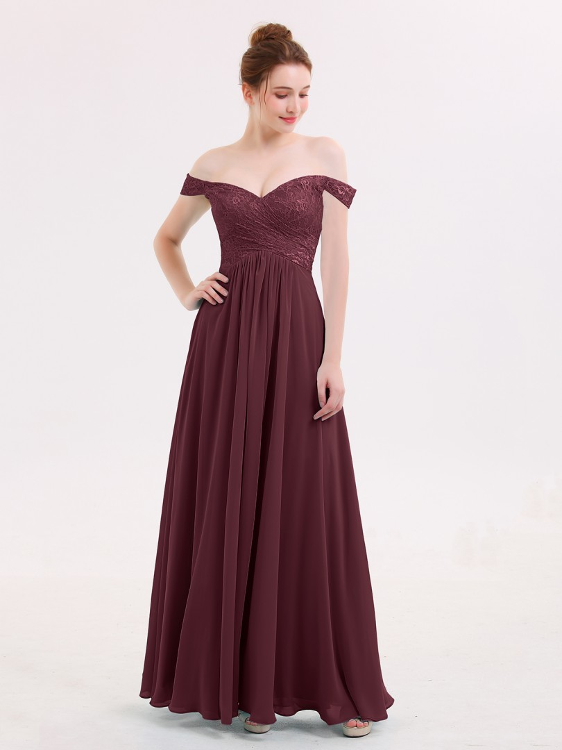 Empire Chiffon Pool Zipper Lace, Pleated Floor-length Off-the-shoulder Sleeveless Beautiful Bridesmaid Bresses