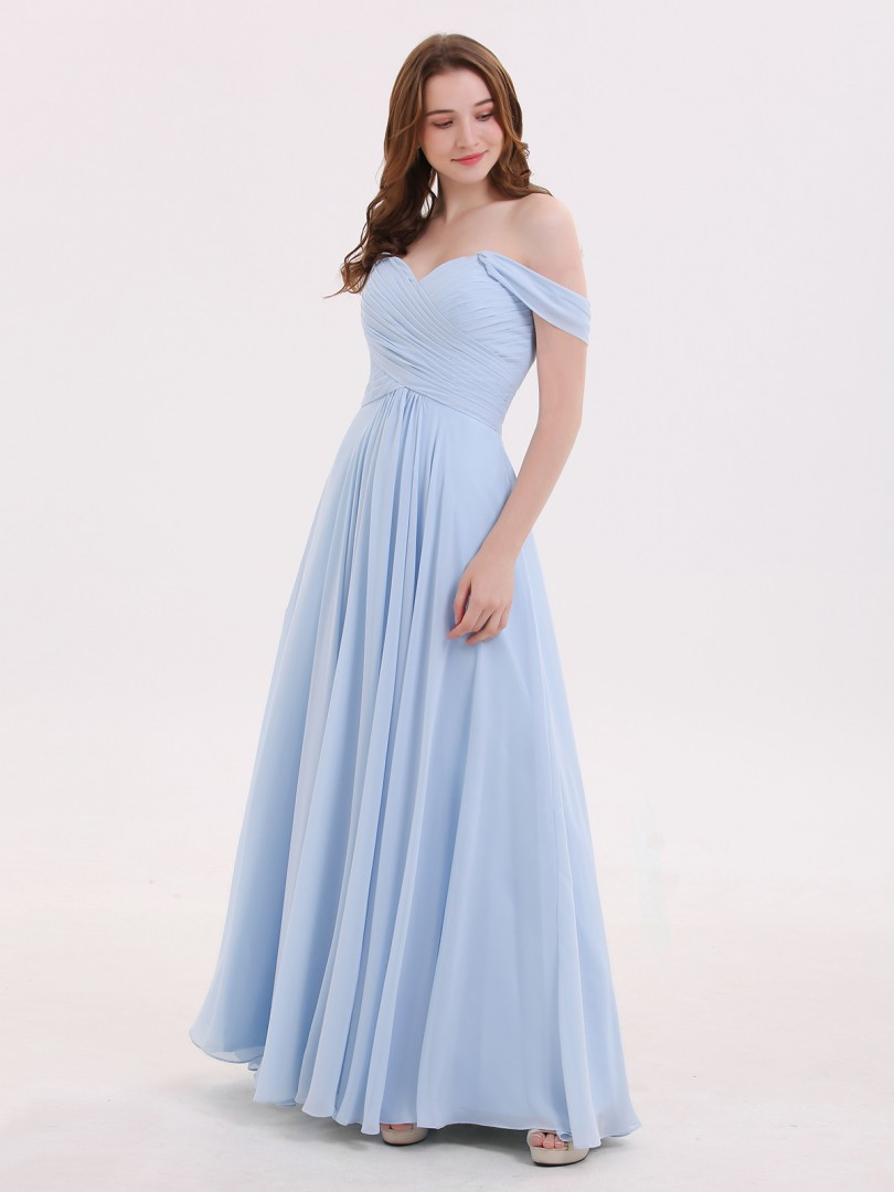 Empire Chiffon Sky Blue Zipper Ruched, Pleated Floor-length Off-the-shoulder Cap Sleeve Cheap Bridesmaid Dresses UK