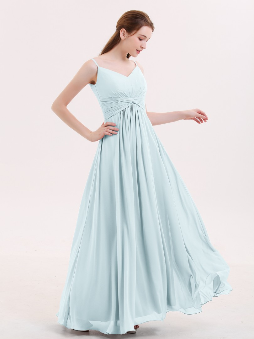 Empire Chiffon Mist Zipper Ruched, Pleated Floor-length V-neck Spaghetti Straps Beach Wedding Bridesmaid Dresses