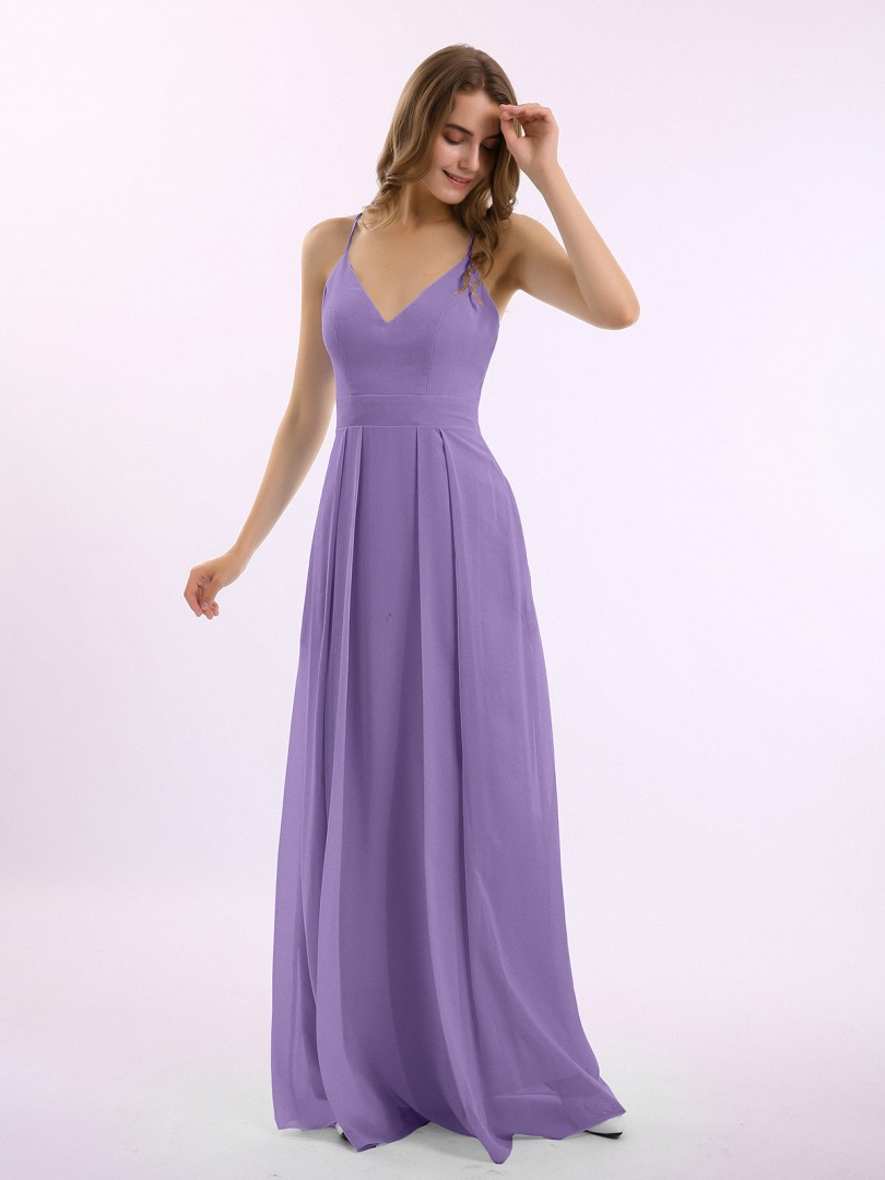 A-line Chiffon Tahiti Criss-Cross Straps Pleated Floor-length V-neck Spaghetti Straps Bridesmaid Dresses Under 100