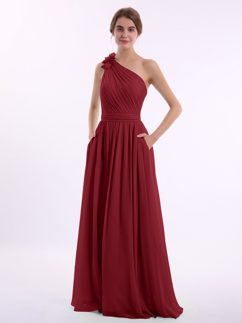 A-line Chiffon Wisteria Backless Pocket, Ruched, Flower Floor-length One Shoulder Sleeveless Bridesmaid Dresses Under 100