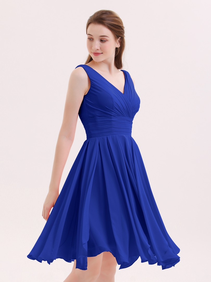 A-line Chiffon Royal Blue Zipper Ruffle, Pleated Knee-length V-neck Sleeveless Beautiful Bridesmaid Bresses